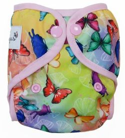 6-12kg Mini One Size Diaper Cover with elastic piping - Butterflies