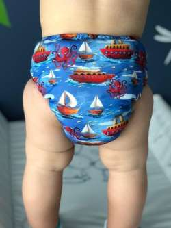 Diaper cover, one-row snaps OS 6-15kg BOATS