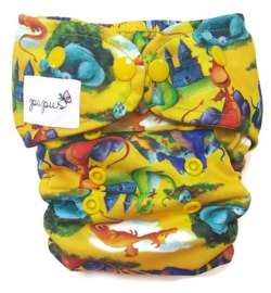 Diaper cover, one-row snaps OS 6-15kg DRAGONS