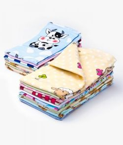 Flannel Flat Diaper 70x80cm, 3-pack for a GIRL