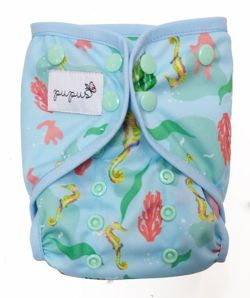 One Size 7-16kg Diaper Cover with elastic piping - Seahorse