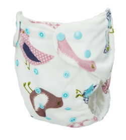 "Pocket diaper ""Folk Birds"", double gussets"