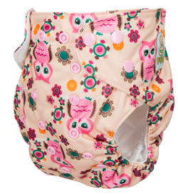 "Pocket diaper ""Pink Owls"", double gussets"
