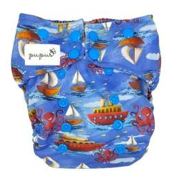 Pocket diaper, double-row snaps, OS, with Coolmax, BOATS