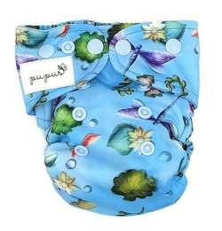 Pocket diaper, one-row snaps, MINI OS 4-11kg, with cotton, DRAGONFLY