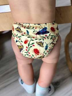 Pocket diaper, one-row snaps, OS, with cotton, BUGS