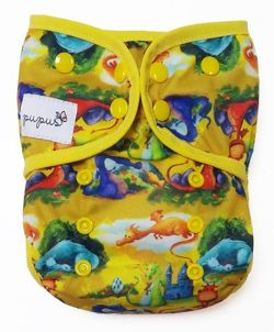 XL 10-20kg Diaper Cover with elastic piping - Dragons